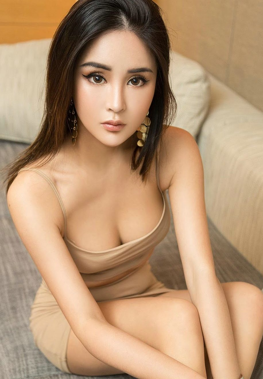 cute girl in sexy nude dresss
